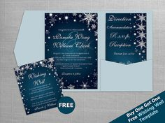 DIY Printable Wedding Pocket Fold Invitation Set A7 5 x 7 | Editable MS Word file | Winter White Snowflakes Dark Turquoise