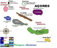 Portugal Colorido! Mapa das Ilhas dos Açores - Portugal