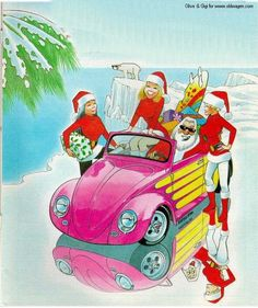 New-Age Santa and his California-Cabriolet