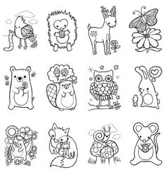 coloring book woodland animals easter children craft - Baby Forest Animals Coloring Pages