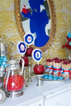 Snow White Princess Birthday Party  apples, blue red white silhouettes, just a few of my favorite things