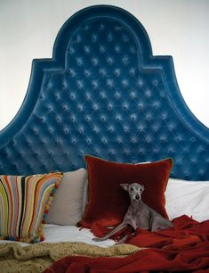 Color statement. Peacock blue tufted headboard.
