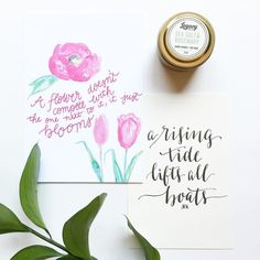 Just a few goodies from the #karimeworkshop last week. In love with this candle! I want to buy them all now... And here's to another week of work.  #makewavesmonday #risingtidesociety #communityovercompetition #bosslady // Watercolor card: @rachel_tenny // Calligraphy card: @inkwellandco // Candle: @legacycandleco by stephaniebrannphoto