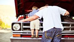 This is just too cute! ♥ Dad and toddler boy / father and son photo session idea. Mechanic | Family Photography | Truck | Car | Prop Ideas
