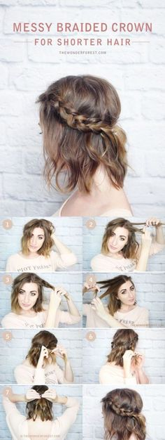 Messy Braided Crown for Shorter Hair Tutorial - DIY Hairstyles Messy . - Messy Braided Crown for Shorter Hair Tutorial – DIY Hairstyles Messy Braided Crown for shorter ha - Cute Braided Hairstyles, Diy Hairstyles, Straight Hairstyles, Wedding Hairstyles, Hairstyle Short, Gorgeous Hairstyles, Homecoming Hairstyles, Hairstyle Ideas, Simple Hairstyles