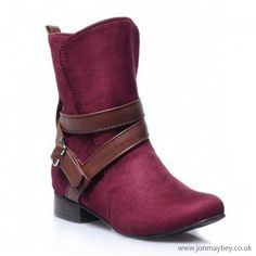RED Retro Suede and Buckle Design Short Boots-SG994P05J.jpg (600×600