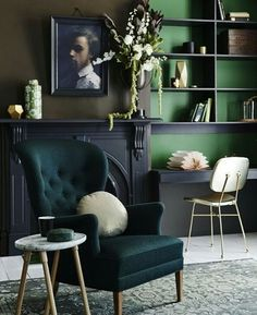 Dark green interior #ABIGAILAHERN #AAOBSESSED