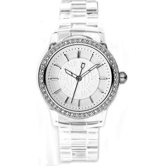 DKNY Clear Plastic Glitz White Dial Women's watch #NY8017 DKNY. $95.00. White Plastic Strap. Round Stainless Steel Case. Analog Display
