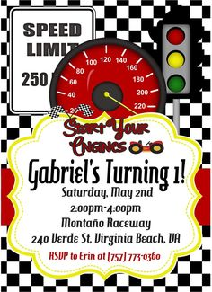 Racecar Birthday Party Invitations