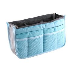 Icon Women Nylon Purse Organizer Insert for Handbags Zipper Closure Makeup Bag for Travel (Blue) by TinoTrade Cosmetic Bags *** Awesome outdoor product. Click the image : Travel toiletries