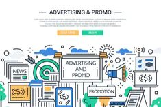 Buy Advertising and Promo Line Design Website Banner by BoykoPictures on GraphicRiver. Illustration of vector modern line flat design website banner, header with advertising and promotion tools, means Advertising And Promotion, Advertising Services, Line Design, Flat Design, Promotion Tools, Illustration Vector, Stock Illustrations, Direct Marketing, Teaching History