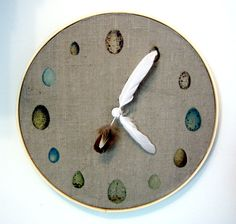 I love this - I'd make it without the feather clock hands but the rest of it is adorable