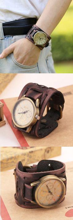 Punk Vintage Watch Retro Rock Leather Bracelet Watch for Men Gift