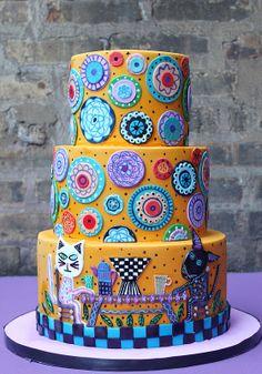 Animal Folk Art Cake - Too cute! Crazy Cakes, Fancy Cakes, Fondant Cakes, Cupcake Cakes, Dog Cakes, Bolo Paris, Gateaux Cake, Dream Cake, Just Cakes