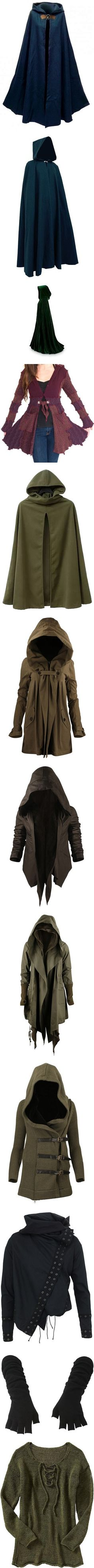 medieval stuff by doodleninja on Polyvore featuring women's fashion, cloaks, medieval, outerwear, jackets, capes, men's fashion, costume, dresses and costumes