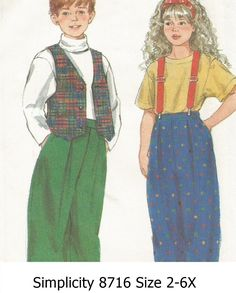 Simplicity+8716+Size+2-6X+Child's+Pants+and+Lined+Vest+Pattern+Boys+Girls+Uncut+(Trimmed)