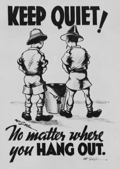 Keep Quiet! No Matter Where You Hang Out ♦ New Zealand, World War II Propaganda Poster ♦ Take a tinkle on Hitler. Mum's the word!