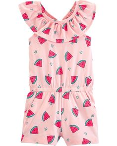 NWT Carter/'s Watermelon Baby Girls Pink Sleeveless Bubble Romper Sunsuit