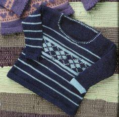 Вязаный спицами детский пуловер с орнаментом (knitting baby sweater ornament)