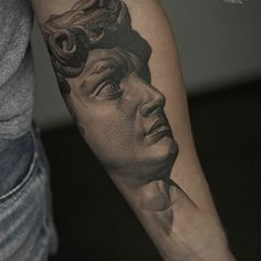 DAVID's head tattoo design on forearm by @alexsorsa