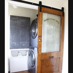 Laundry closer becomes a mini room! Must do and love that door!!