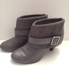 Gray booties with a buckle These gray booties are perfect for really any occasion. You don't need to use the buckle: it's just a cosmetic addition :) you just slip your foot in : no side zipper etc. SIZE: 6 FIONI Clothing Shoes Ankle Boots & Booties