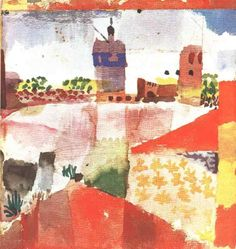 Paul Klee - Hammamet w/Mosque 1914 Cubism FauvismWikiPaintings.org
