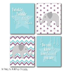 Baby+Girl+Nursery+DecorPurple+Teal+Baby+Girl+by+HollyPopDesigns,+$43.00