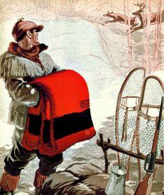 "A Canadian hunter packs up camp and his Hudson's Bay point blanket in ""Unloaded!"", the cover illustration for the November, 1921 issue of The Beaver, the Hudson's Bay Company magazine for employees. Ski Lodge Decor, Rustic Cabin Decor, Hudson Bay Blanket, Bay Point, Blanket Coat, Fur Trade, Camping Blanket, Kabine, Mountain Man"