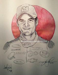 Jeff Gordon ORIGINAL Sketch by Artist, Kevin-John Jobczynski