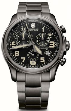 @vxswissarmy  Watch Infantry Vintage Quartz Chronograph #bezel-fixed #bracelet-strap-steel #brand-victorinox-swiss-army #case-material-black-pvd #case-width-44mm #chronograph-yes #classic #date-yes #delivery-timescale-call-us #dial-colour-black #gender-me