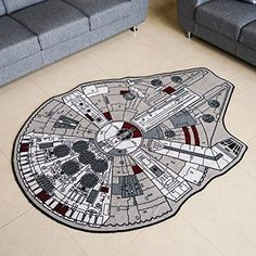 "Star Wars Grey Millenium Falcon Rug (59"" X 79"") $100"