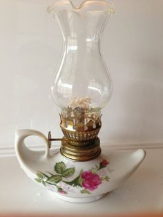 Awesome Vintage Multi Colored Glass Oil Lamp With Clear Glass Shade Hong Kong 12  Inch | Quinques | Pinterest | Oil Lamps, Glass Shades And Switch Covers