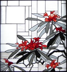 "Stained glass panel ""rhododendron (Rhododendron)"""