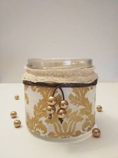 This decoupage candle holder is a must-have home decor. It is decorated with a nice golden-pattern napkin, a very lovely lace and a some golden beads. Decoupage, Planter Pots, Candle Holders, My Etsy Shop, Jar, Candles, Unique Jewelry, Handmade Gifts, Check