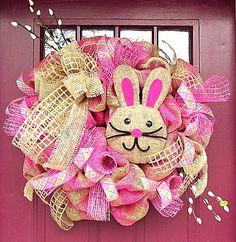 Easter Bunny Burlap Mesh Wreath. $105.00, via Etsy.