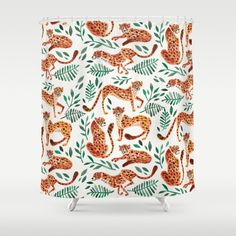 Cheetah Collection – Orange & Green Palette Duschvorhang Bathroom Shower Curtains, Cheetah, Green, Pattern, Stuff To Buy, Collection, Color, Winter Park, Design