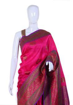 Pink Dupion Silk Benarasi Saree – Desically Ethnic