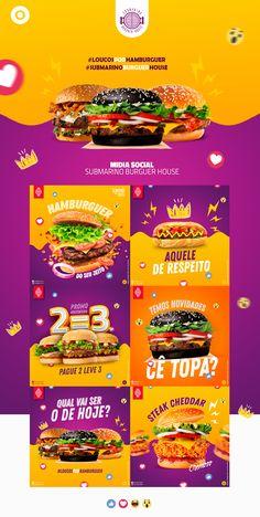 Social Media - Submarino Burguer House on Behance Food Design, Food Graphic Design, Food Poster Design, Menu Design, Flyer Design, Corporate Design, Social Media Design, Social Media Content, Social Media Graphics