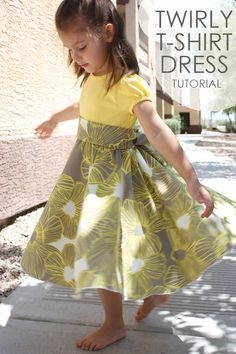 Twirly T-Shirt Dress Tutorial - Crafty Cupboard. Make this cute toddler or little girl dress. #sew #make