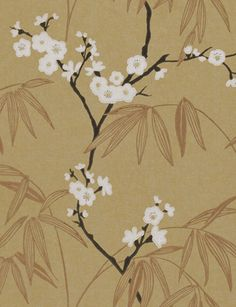Radiance (75778) in gold, onyx and ivory from the Extravagance collection from Harlequin.  A delicate blossom trail in a pearlescent finish. £45