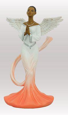 Sash Angel in Orange Graceful Angels African American Figurine