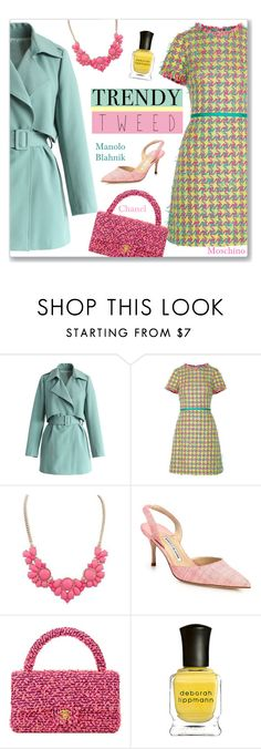 """Trendy Tweed"" by sebi86 ❤ liked on Polyvore featuring Chicwish, Boutique Moschino, Glamiz, Manolo Blahnik, Chanel, Deborah Lippmann, women's clothing, women, female and woman"