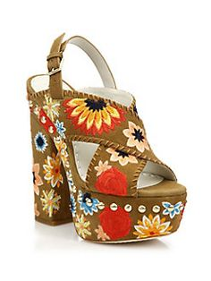 Alice and Olivia - Giana Too Embroidered Suede Platform Slingback Sandals...Not my taste but they are unique!