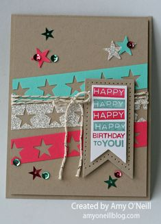 SU! Amazing Birthday stamp set; colors are Strawberry Slush, Coastal Cabana and Crumb Cake with Silver Glimmer paper; star punch from Itty Bitty Accents punch pack; InColor sequins - Amy O'Neill
