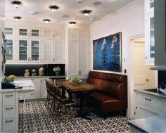 Floor tiles, banquet, lights, art - all wow