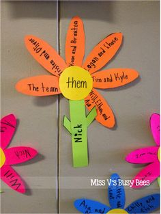 Miss V's Busy Bees: Pronoun Flowers - A Pronoun Activity Teaching Pronouns, Pronoun Activities, Nouns And Pronouns, Teaching Grammar, Grammar Lessons, Speech Therapy Activities, Student Teaching, Teaching Ideas, Esl Lessons