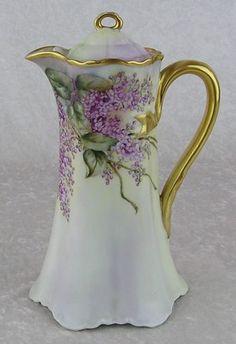 Antique Haviland Limoges France Porcelain Floral Gold Coffee Tea Chocolate Pot  |