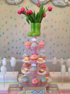 Beautiful cupcake display at a raindrop baby shower party! See more party planning ideas at CatchMyParty.com!