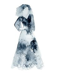 Wedding Dress. Fashion illustration in watercolour. Silhouetted woman.
